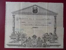 RARE ACTION SOCIETE CIVILE DE LA MAISON DE L'ASSOMPTION NIMES 1882 TOP DECO