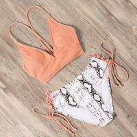 Damen Gepolstert Bikini Set Push Up Bandage Bademode Badeanzug Schwimmanzug