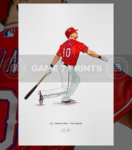 Michael Young Texas Rangers Baseball Illustrated Print Poster Art