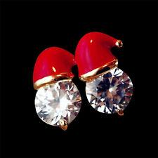 Crystal Santa Hat Xmas Earrings Novelty Stud Earrings Party Jewelry 1 Pair