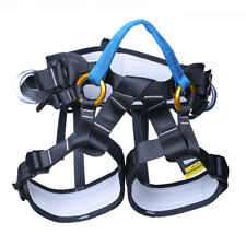Tree Climbing Rappelling Safety Harness Sitting Seat Bust Belt Blue- black