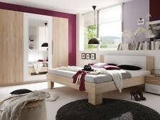 MARTINA Schlafzimmer mit Schrank und Bett 180x200 Dekor Eiche m. 2 Nachttische