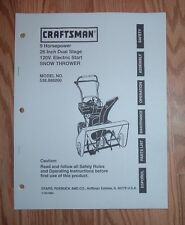 CRAFTSMAN 536.886260 SNOW THROWER OWNERS MANUAL WITH ILLUSTRATED PARTS LIST