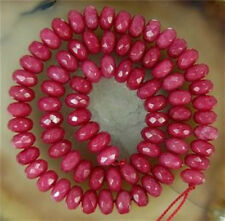 """Faceted 5x8mm Brazilian Ruby Gem Abacus Loose Bead 15"""""""