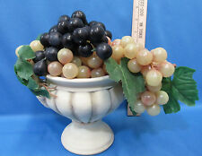 Vintage French Country Ornate Style Cream Vase w/ 3 Clusters Rubber Grapes
