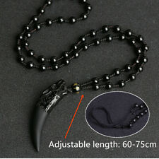 Natural Fashion Stone Black And Ice Obsidian Pendant Necklace Wolf Tooth Amulets