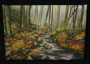Wyming Brook, Sheffield - Canvas Print of Landscape Painting 30x20cm signed