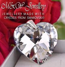 925 Sterling Silver Pendant Crystals From Swarovski® HEART Crystal CAL 28mm