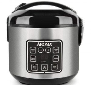 Digital Cool-Touch Rice Grain Cooker and Food Steamer, 8 Cup - Sliver