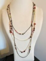 TWO Vintage very long glass microbead and faceted glass crystals necklaces  #141