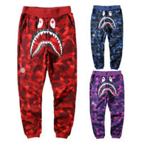 BAPE A Bathing Ape Shark Head Camouflage Sweatpants Men's Casual Jogging Pants @
