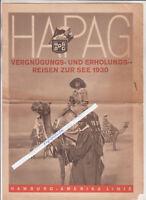 Folleto Hapag Vergnügungs-& Erholungsreisen Para Vea 1930 Hamburg-Amerika (H1