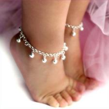 2x Baby Bracelet Silver Bell Anklet Adjustable Alloy Plating Baby Hot