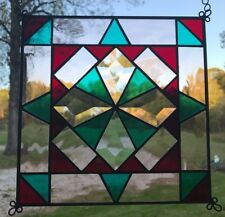 Stained Glass Quilted Square Panel - 9 Inch - Clear/Turquoise/Wine/Peach
