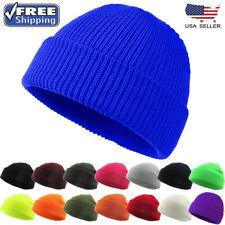 UNISEX Warm Winter Knit Cuff Beanie Cap Fisherman Watch Cap Daily Ski Hat Skully