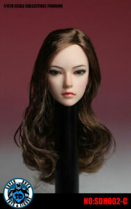 SDH002C 1/6 Female Head Sculpt Long Brown Hair For Phicen Hot Toys PALE Figure