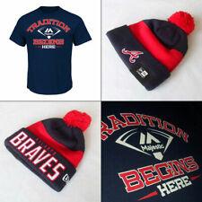 Atlanta Braves Knit Hat PLUS Majestic Tradition Begins Here MLB T shirt