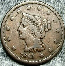 1841 Braided Hair Large Cent Penny --- TYPE COIN --- #D899