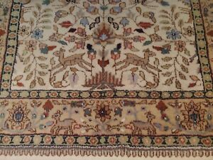 Vintage T a b r i z Wool Area Rug with Animal Design Beige, Tan, Blue 4x6