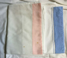 More details for vintage 100% cotton white pair of pillow cases pink & blue border