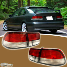 For 1996 2000 Honda Civic Coupe Red Clear 2Dr Rear Brake Lamps Tail Lights