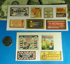 1:87 HO Scale Barber Shop CUT & PEEL STICKER SIGNS Shave Haircut Stickers