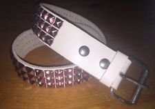 "Punk Rock Stud Belt Pink Small 36"" Brass Pyramid Studs 2""Wide Genuine Leather"