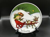 """Joan Walsh Anglund January collector's 7.75"""" plate girl & boy & cart & goat 1966"""
