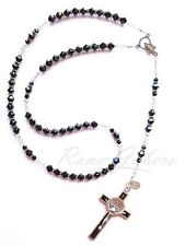 Black & Silver Catholic Rosary Beads Necklace Made w/Crystals from Swarovski®️