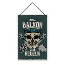 Balkon Regeln 20 x 30 cm Holz-Schild 8 mm Spruch Motiv Geschenk Männer Einzug
