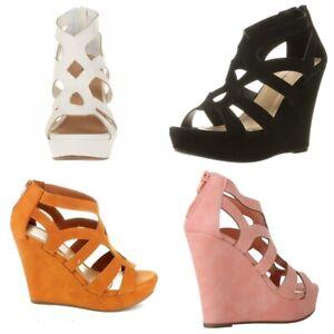Top Moda Ella-15 Womens Fashion Gladiator Platform Heel Wedge Faux Suede Sandals