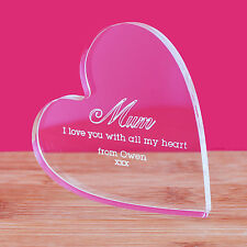 Personalised Clear Heart Message Ornament Keepsake Mum Mothers Day Birthday Gift