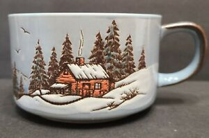 Otagiri Japan Vintage Coffee Soup Mug Snowy Winter Forest Trees Cabin Scene