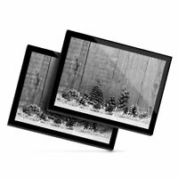 2x Glass Placemats 20x25 cm - BW - Rustic Pine Cone Christmas Tree  #42318