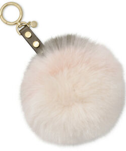 New Michael Kors Lollipop Pom Pom plush fawn fur key charm olive soft pink cream