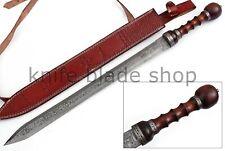 Damascus STEEL BLADE HANDMADE ROMAN GLADIUS SWORD, ROSE WOOD & DAMASCUS HANDLE