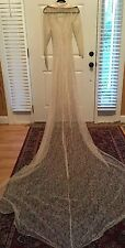 1930's TRUE VINTAGE ANTIQUE LACE WEDDING DRESS Jacket LACE Long Train Satin Trim