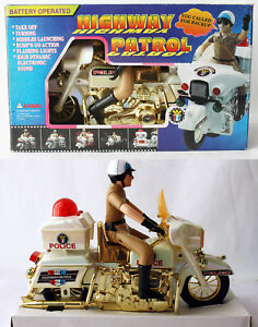 """RARE VINTAGE 90'S HIGHWAY PATROL 14"""" POLICE MOTORCYCLE BATTERY CHINA NEW MIB !"""