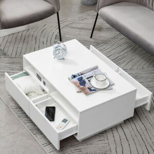Wooden Coffee Table With Storage 4 Drawers Living Room Furniture High Gloss