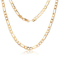 18K Yellow Gold Plated Cuban Link Chain Necklaces Mens Thick Vintage