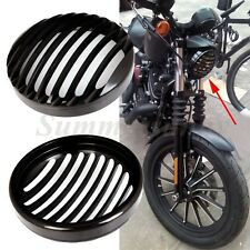 "5-3/4"" stone guard FLAT BLACK headlight mesh grill motorcycle headlamp cover"