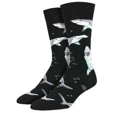 Socksmith Men's Crew Socks Shark Chums Sea Animal Deadly Fish Black Footwear