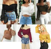 Ladies Womens Shirred Ruched Frill Ruffle Wrap Cross Over Bardot Smoked Crop Top