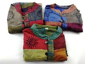 Patchwork Hippie Collarless Grandad shirt handmade nepali     Plain non stripe