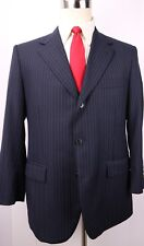 Brooks Brothers Madison Blue Striped 3 Button Wool Suit Size 42 S Jacket 35 29