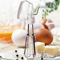 Rotary Manual Hand Whisk Egg Beater Mixer Blender Stainless Steel Kitchen  M6G9