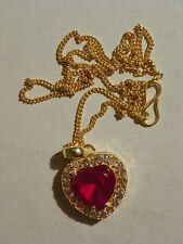 Ruby Heart Necklace Pendant 4 ct 18 KT Gold Over 925 Sterling Silver 17  Inches