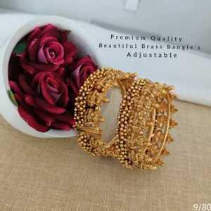 Indian Ethnic 2PC Gold Plated Kada Jewelry Pearl Cz Bangles Bracelets Set tytyty