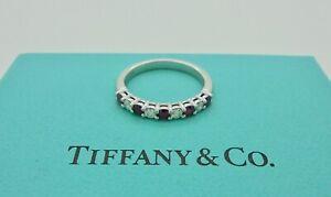 Tiffany & Co. 2.2mm Embrace Half Diamond Ruby Platinum Wedding Band Ring $6400