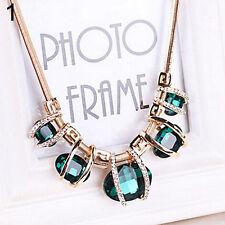 Charming Women Crystal Pendant Golden Chain Choker Beauty Statement Bib Necklace